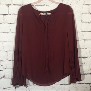 WHBM Burgundy Tie Neck Top Accordion Sleeves Sz 4